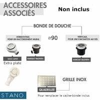Receveur de douche 80 x 80 cm extra plat PIATTO en SoliCast® surface ardoisée carré noir