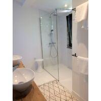 Receveur de douche 80 x 80 cm extra plat PIATTO en SoliCast® surface ardoisée carré blanc - Blanc