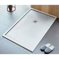 Receveur de douche 70 x 90 cm extra plat LOGIC ENCADRE surface ardoisée rectangulaire blanc - Blanc