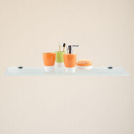 Glasablage + Halterung Weiß 60x10CM Badezimmerablage Spiegel Ablage Bad Konsole