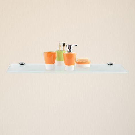 Glasablage + Halterung Weiß 50x10CM Badezimmerablage Spiegel Ablage Bad Konsole