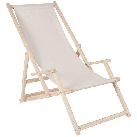 Strandstuhl mit Armlehne Strandliege Holz Liegestuhl Gartenliege Sonnenliege Strandstuhl Faltliege - Beige