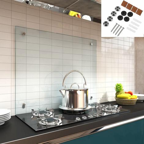 Küchenrückwand Spritzschutz Fliesenspiegel Küche Wandschutz Glas 6mm ESG Klarglas - 80x40CM
