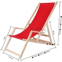 Strandstuhl mit Armlehne Strandliege Holz Liegestuhl Gartenliege Sonnenliege Strandstuhl Faltliege - Anthrazit