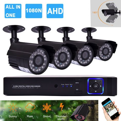 Goplus 4CH 1080N CCTV Home Security Camera System Outdoor Video Monitoring Kit