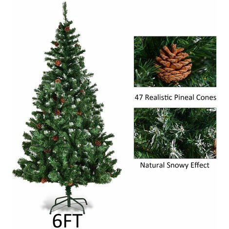Artificial Xmas Christmas Tree Cone Snow Covered Large Trees Fence