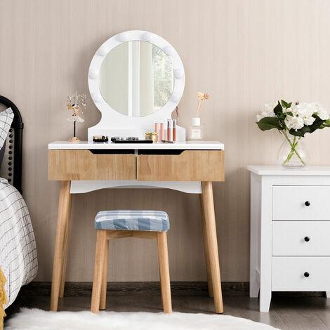 Vanity Dressing Table Set Makeup Desk Cushioned Stool LED Light Storage Drawers