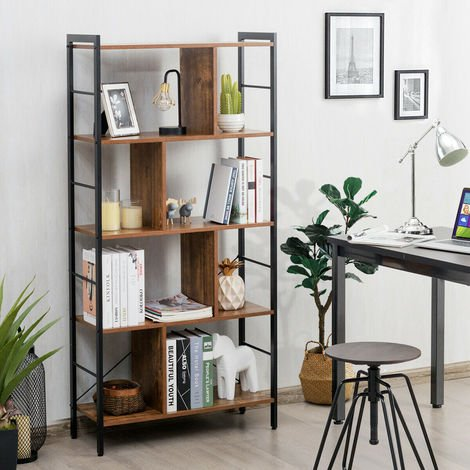 5 Tier Bookcase Bookshelf Storage Home Display Stand Shelf Unit Floor-standing