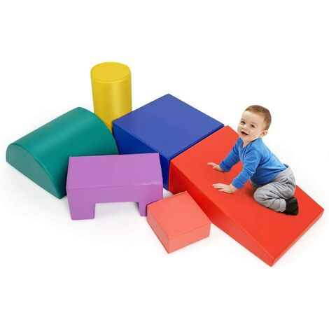 COSTWAY 6 Pieces Kids Climb and Crawl Foam Play Set, Baby's Soft Climbing Blocks for Toddlers, Preschoolers (primary)