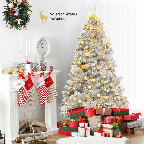 COSTWAY 6FT Silver Christmas Tree, Hinged Full Tree with 1036 Tips and Folding Metal Stand, Electroplated Technology, Artificial Tinsel Xmas Trees for Indoor Outdoor Decor