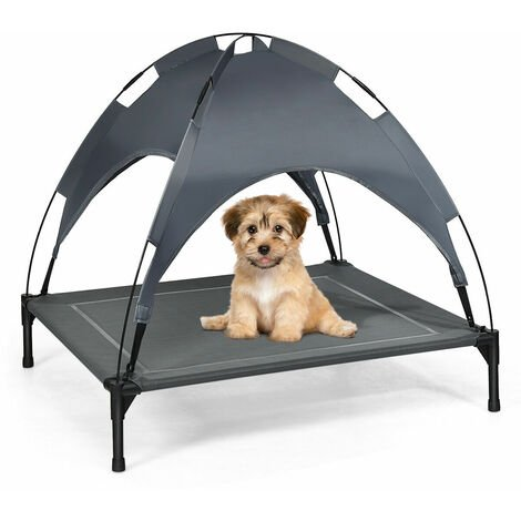 COSTWAY Large Raised Dog Bed Puppy Pet Cot Elevated Tent Removeable Canopy Waterproof