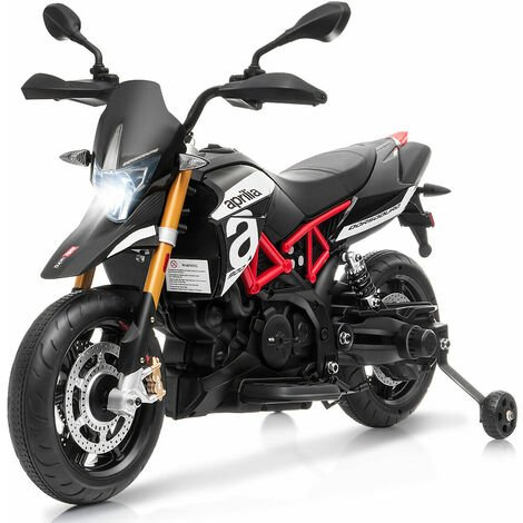 COSTWAY Kids Electric Motorcycle, 12V Battery Powered Motorbike with Training Wheels, LED Lights and Music, Forward Backward Ride on Vehicle for Boys Girls