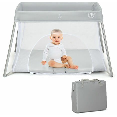 COSTWAY Foldable Travel Cot, 2 in 1 Portable Playpen with Soft Mattress, Zipper Door and Carry Bag, Lightweight Mesh Playard for Infants Toddlers (Silver)