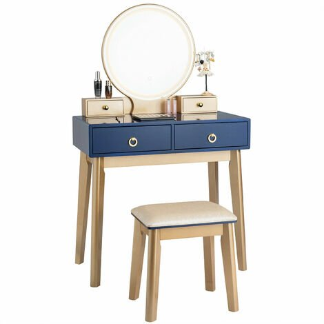 COSTWAY Dressing Table Set with LED Lights and Mirror, Detachable Makeup Dresser Table Stool, Home Bedroom Vanity Cosmetic Furniture Gifts for Girls Women (Navy Blue)
