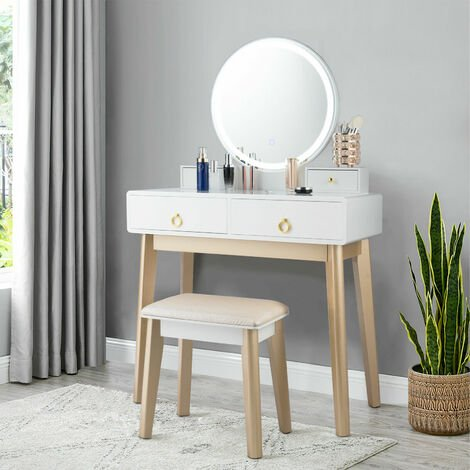 Costway Dressing Table Set With Led, Vanity Dressing Table With Light Up Mirror