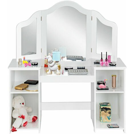 COSTWAY Children Dressing Table, 2 in 1 Kids Vanity Tables Writing Desk with Detachable Mirror, 4 Storage Shelves, Girls Princess Makeup Table for Playroom Bedroom