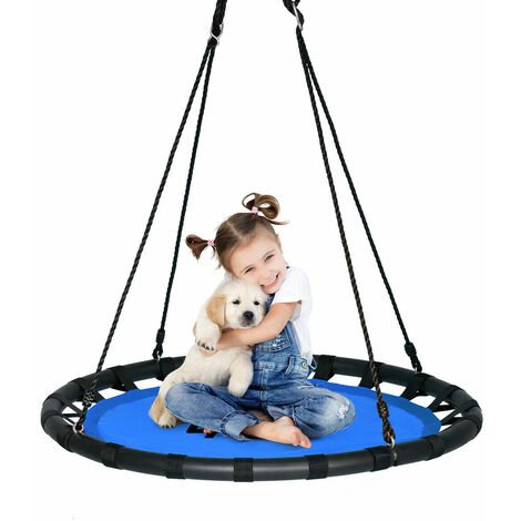 Kids Tree Nest Swing Seat Round Hanging Tree Swing Textilene Height Adjustable