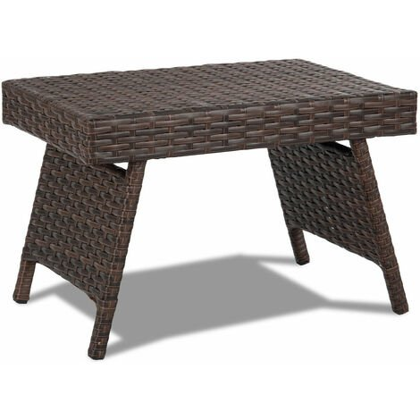 Folding Rattan Side Coffee Table Patio Square Garden Outdoor Furniture