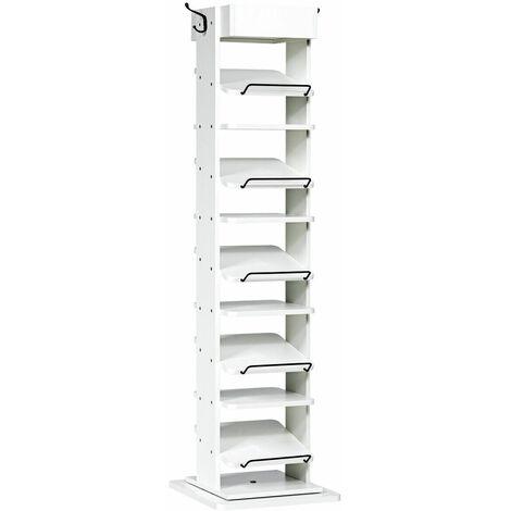 11 Tier Shoe Rack 360¡ã Rotating Entryway Shoe Storage Shelf Organizer W/ 2 Hooks