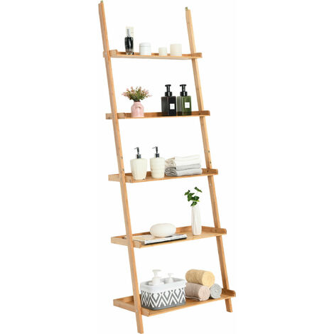5-Tier Ladder Shelf Bamboo Bookshelf Wall-Leaning Storage Display Plant Stand