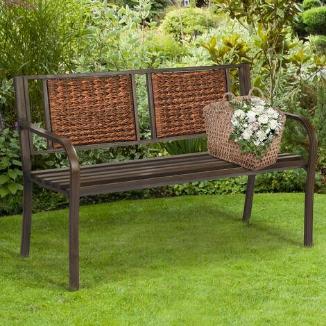 2 Seater Patio Garden Bench Outdoor Loveseat Furniture with Ergonomic Backrest
