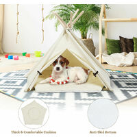 Costway Folding Pet Tribal Teepee Bed Kennel Dog Cat Nest House Tent W/ Thick Cushion
