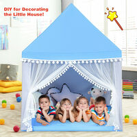 Costway Kids Play Tent Wood Frame Large Playhouse Castle Fairy Tents With Mat Blue