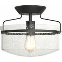 Costway Industrial Ceiling Lamp Seeded Glass E27 Flush Mount Lamp Holder Chandelier Home