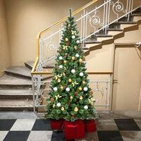 Costway 8FT Green Christmas Tree Premium Hinged Full Tree Mixed Pine Needles Pine Cones