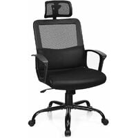 COSTWAY Mesh Office Chair, High Back Ergonomic Executive Chairs with Casters and Headrest, Adjustable Swivel Home Padded Computer Chairs