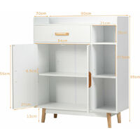COSTWAY Sideboard Storage Cabinet, Freestanding Wooden Bookcase with Drawer and Adjustable Shelves, Home Hallway Entryway Display Organiser Cupboard