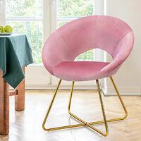 COSTWAY Velvet Dining Chair Curved Lounge Leisure Vanity Living Dining Room Metal Leg