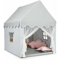 COSTWAY Wood Frame Large Playhouse Kids Toddler Castle Play Tent W/ Washable Mattress