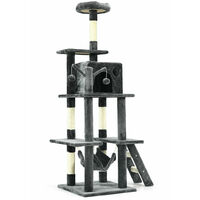 COSTWAY Cat Tree, Multi-level Cats Tower with Hammock, Condo, Scratching Posts, Perches and Ladder, Kittens Activity Centre for Climbing, Scratching, Sleeping