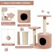 COSTWAY Cat Tree Activity Centre with Condo, 2 Platforms, Scratching Posts and Hanging Toy, Multi Level Cats Towel for Climbing, Scratching, Sleeping (50 x 36 x 72 cm)
