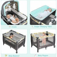 COSTWAY Portable Baby Bed, 4 in 1 Foldable Travel Cot with Bassinet, Cradle, Changing Table, Carry Bag, Toys & Music, Multifunctional Nursery Center Playard for Boys and Girls
