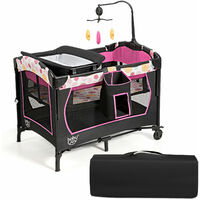 COSTWAY 3 in 1 Portable Baby Travel Cot Crib Playard Infant Bassinet Bed Mattress Music