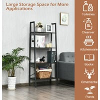 COSTWAY 4-Tiers Ladder Shelf, Industrial Bookcase Plant Flower Stand, Home Office Rustic Leaning Storage Unit Organiser Display Rack for Living Room Bedroom