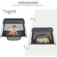 COSTWAY Foldable Travel Cot, 2 in 1 Portable Playpen with Soft Mattress, Zipper Door and Carry Bag, Lightweight Mesh Playard for Infants Toddlers (Grey)
