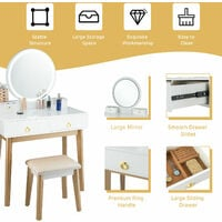 COSTWAY Dressing Table Set with LED Lights and Mirror, Detachable Makeup Dresser Table Stool, Home Bedroom Vanity Cosmetic Furniture Gifts for Girls Women (White)