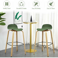 COSTWAY 2PCS Bar Chair Set, Modern Breakfast Stool Seats with Footrest and Backrest, Counter Height Chairs for Home Kitchen Dining Room