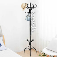 Wooden Rotating Coat Hat Hanger Free Standing Hallstand Umbrella Stand 12 Hooks
