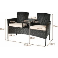 Outdoor Garden Furniture 2-Seater Rattan Chair Middle Tea Table Padded Cushions