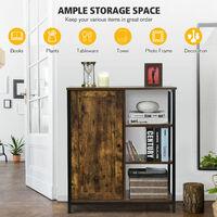 Industrial Storage Cabinet Freestanding Cupboard Sideboard w/ 3 Shelves & Door