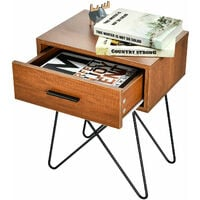 Modern Utility Bedside Table Sofa Side Table Home Nightstand W/ Drawer & Handles