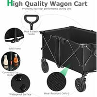 212L Collapsible Folding Wagon Cart Outdoor Utility Garden Trolley Buggy 80KG