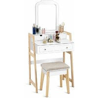 Vanity Dressing Table Set Make up Table Desk Cushioned Stool w/ Large Mirror