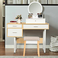 Vanity Wall Mounted Dressing Table Round Makeup Mirror Bathroom Bedroom Chest