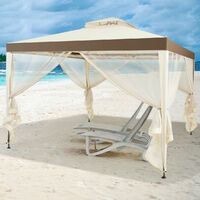 10 x 10 FT Canopy Gazebo Outdoor Garden Shelter Tent Double Tiered Roof Soft Top