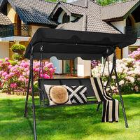 Garden Swing Chair 3 Seater Hammock Patio Outdoor Sunshade W/ Adjustable Canopy